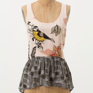 Anthropologie Finely Feathered Tank silk Maeve